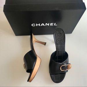 ChANEL Black Slip On Wooden Heel Sandals SZ 6